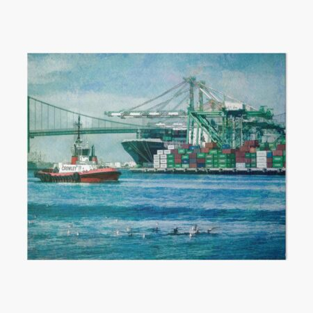 Sunny afternoon in the Port of Los Angeles Art Board Print