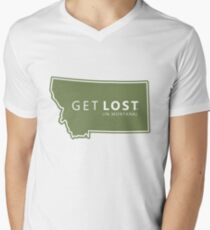 Get Lost in Montana MT State Decal Men's V-Neck T-Shirt