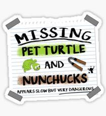 Missing turtle and nunchucks TMNT parody Sticker