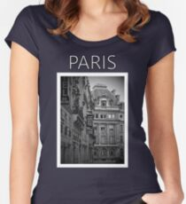 Paris in Black and White Women's Fitted Scoop T-Shirt