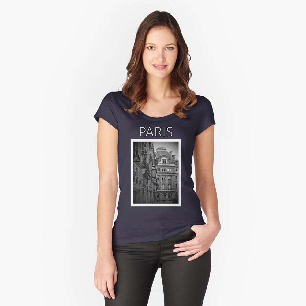 Paris in Black and White Women's Fitted Scoop T-Shirt Front
