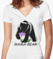 Genderqueer Pride Mama Bear  Women's Fitted V-Neck T-Shirt