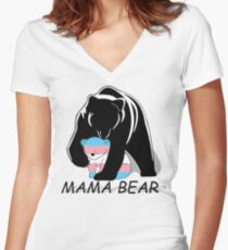 Transgender Pride Mama Bear Women's Fitted V-Neck T-Shirt