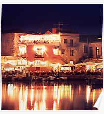 Crete, Greece. Rethymnon Harbour at night Poster