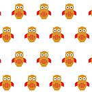 Yellow & Red Owl (Pattern) by Adam Santana