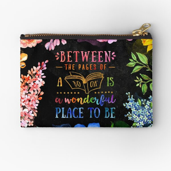 Between the pages (black) Zipper Pouch