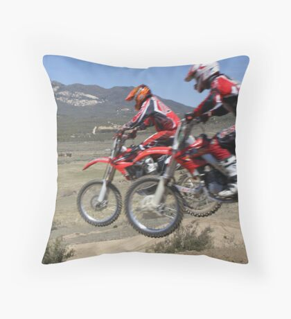 Motocross Racing Action - Two by two - Cahuilla MX California Vet X Racing Series, (1137 Views as of 4-6-2013) Throw Pillow