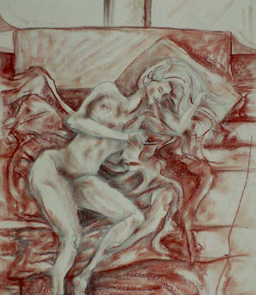 Contentment of the Sleeping Nude (Drawing)- by Robert Dye