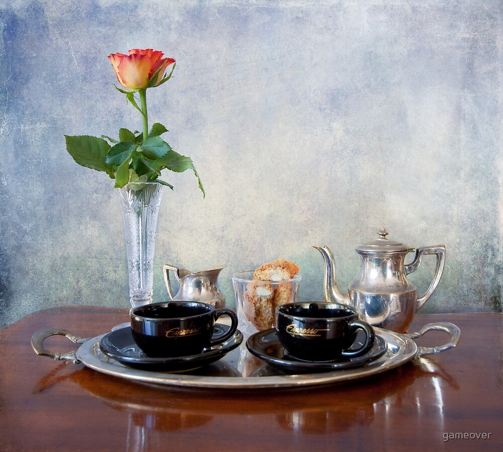Honeymoon espresso: coffee for two, treat and rose by gameover