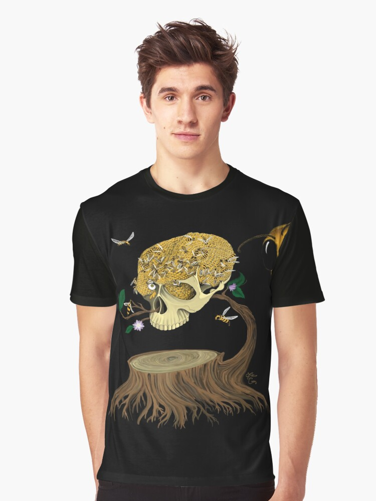 Skull Honey Graphic T-Shirt Front