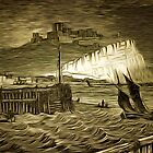 The White Cliffs and Dover Castle 1839 by Dennis Melling