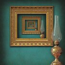 Surreal frames mirrored with vintage oil lamp by gameover