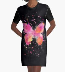 Artsy Butterfly pink and orange Graphic T-Shirt Dress