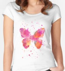 Artsy Butterfly pink and orange Women's Fitted Scoop T-Shirt
