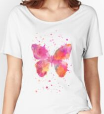 Artsy Butterfly pink and orange Women's Relaxed Fit T-Shirt