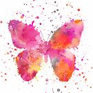 Artsy Butterfly pink and orange by artsandsoul