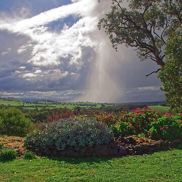 Rain falling during a storm on the Hume Weir  by ndarby1