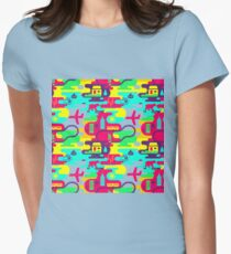 Bright neon pattern in laconic style Womens Fitted T-Shirt