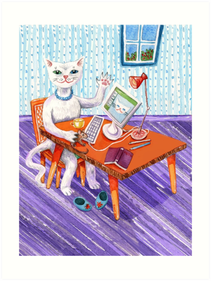 Kitty Cat at her Computer by SmileDial