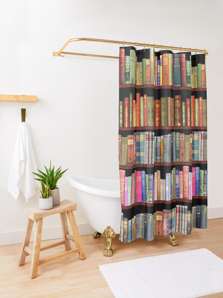 Alternate view of Jane austen antique books & other British antique books Shower Curtain