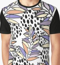 Pastel tones leaves and Polka dots pattern Graphic T-Shirt