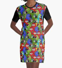 Too Many Birds! - Macaw Squad Graphic T-Shirt Dress