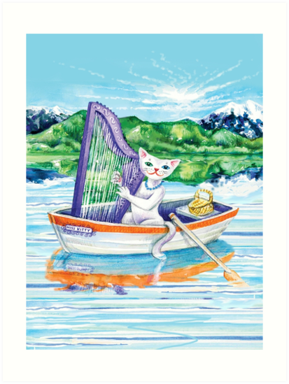 Miss Kitty Cat Plays Harp on the Lake by SmileDial