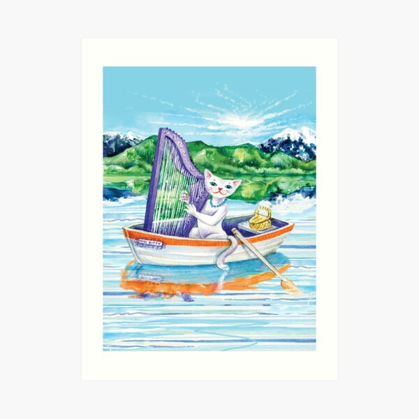 Miss Kitty Cat Plays Harp on the Lake Art Print