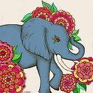 Little Blue Elephant in her secret garden by micklyn