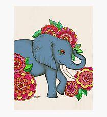 Little Blue Elephant in her secret garden Photographic Print