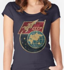 CCCP Flag Space Rocket Women's Fitted Scoop T-Shirt