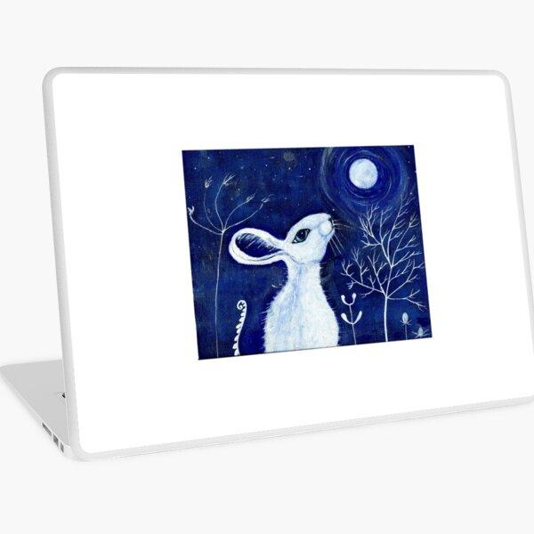 White moon gazing hare Laptop Skin