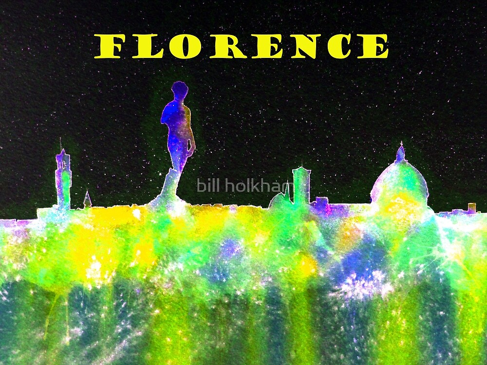 Florence Italy Skyline With Yellow Banner by bill holkham