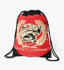 The Mini Kitty Commune Flag Drawstring Bag