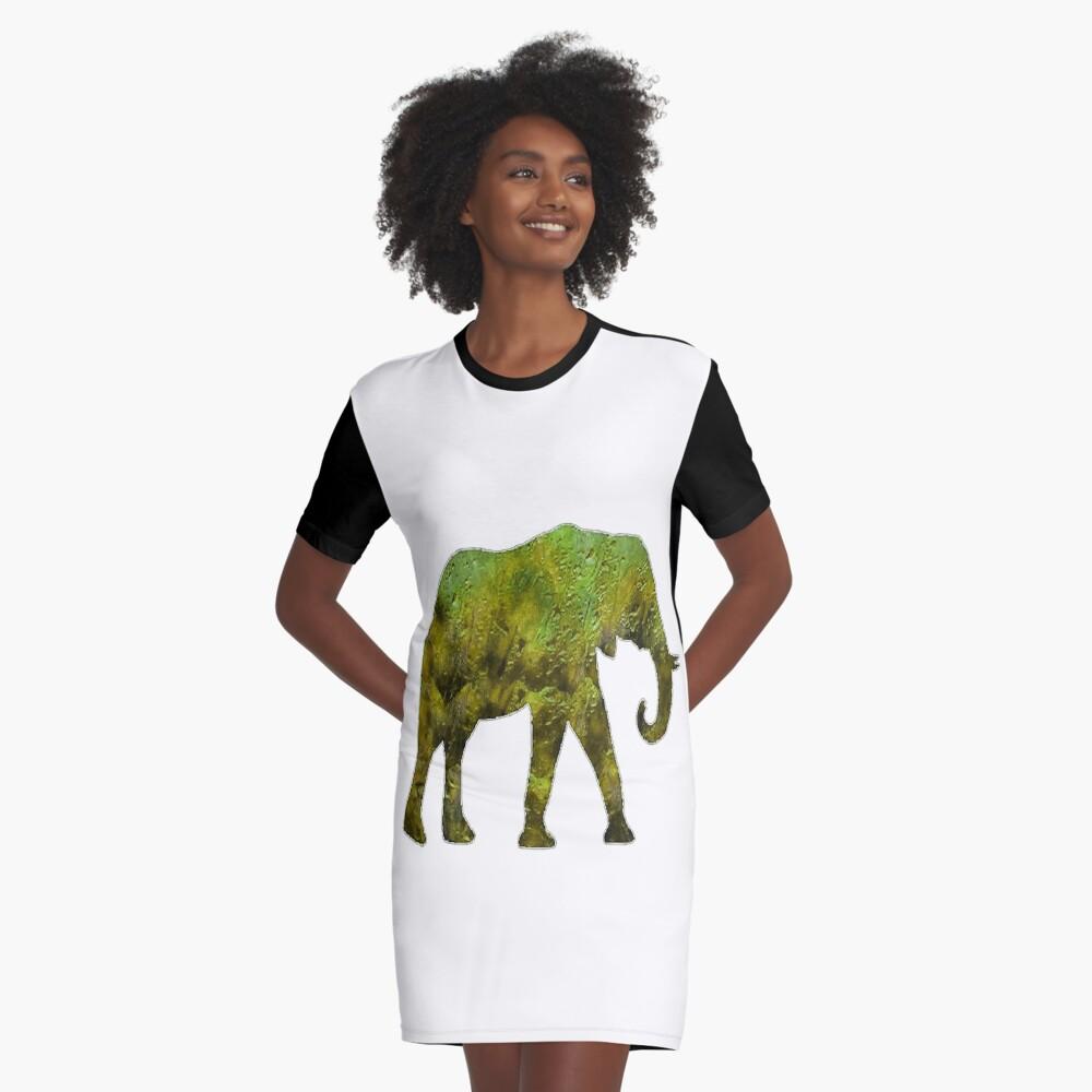 An Elephants Journey Graphic T-Shirt Dress Front