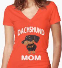 Dachshund Mom Women's Fitted V-Neck T-Shirt