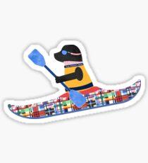 Black Lab Preppy Kayaker Sticker
