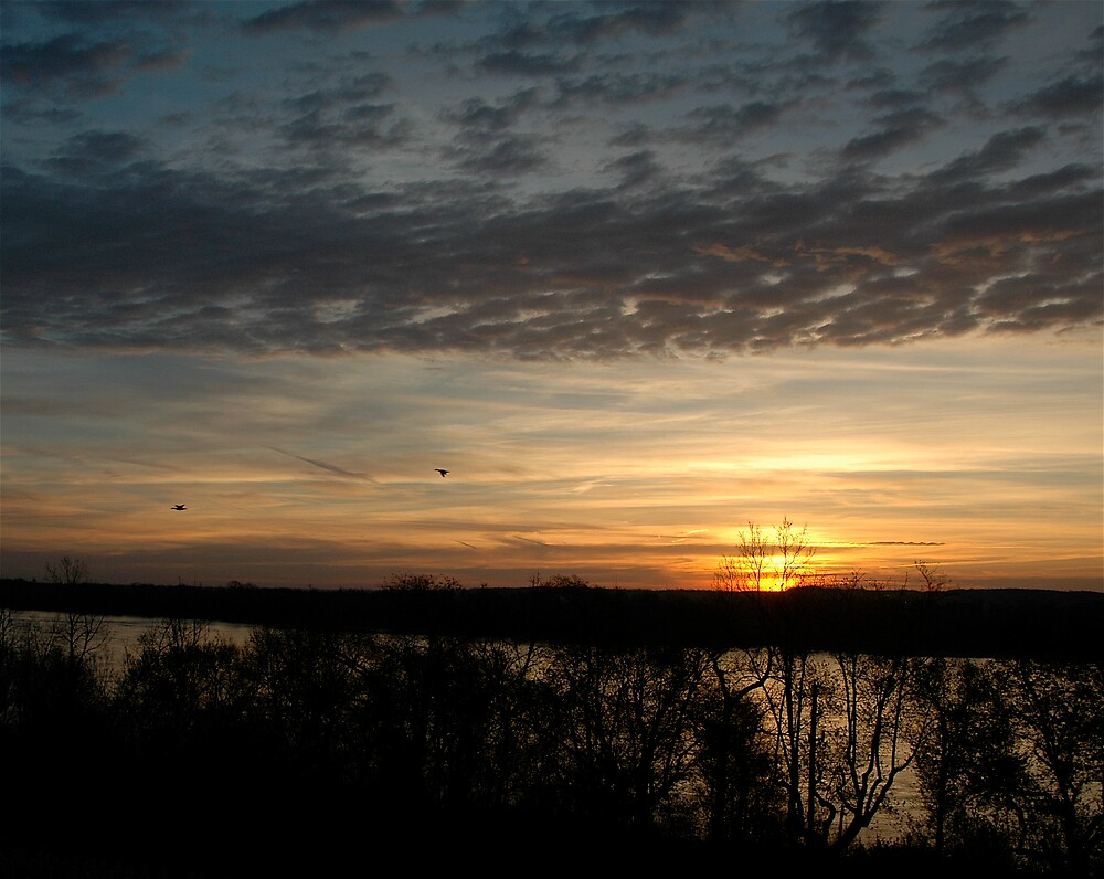Sunrise on the Mississippi and geese by Jim Caldwell