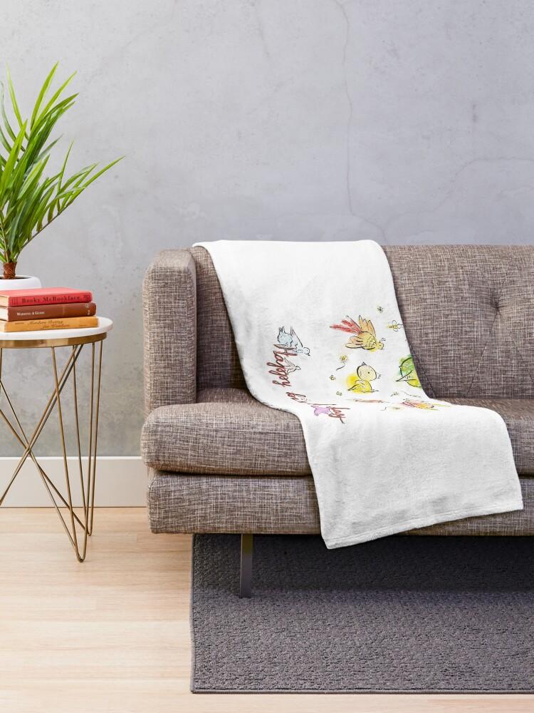 Alternate view of Happy bird-day Throw Blanket