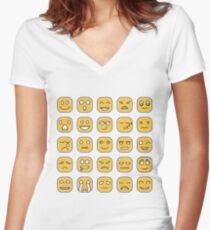 Emoicons Design Emoji Pattern Women's Fitted V-Neck T-Shirt