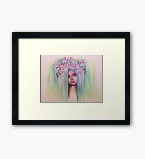 pop surreal abstract fairy butterfly rose contemporary  Framed Print