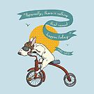 Bull Terrier Dog Tricycle Riding by Yvie Johnson
