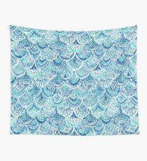 SPLASH Blue Watercolor Mermaid Scales Wall Tapestry