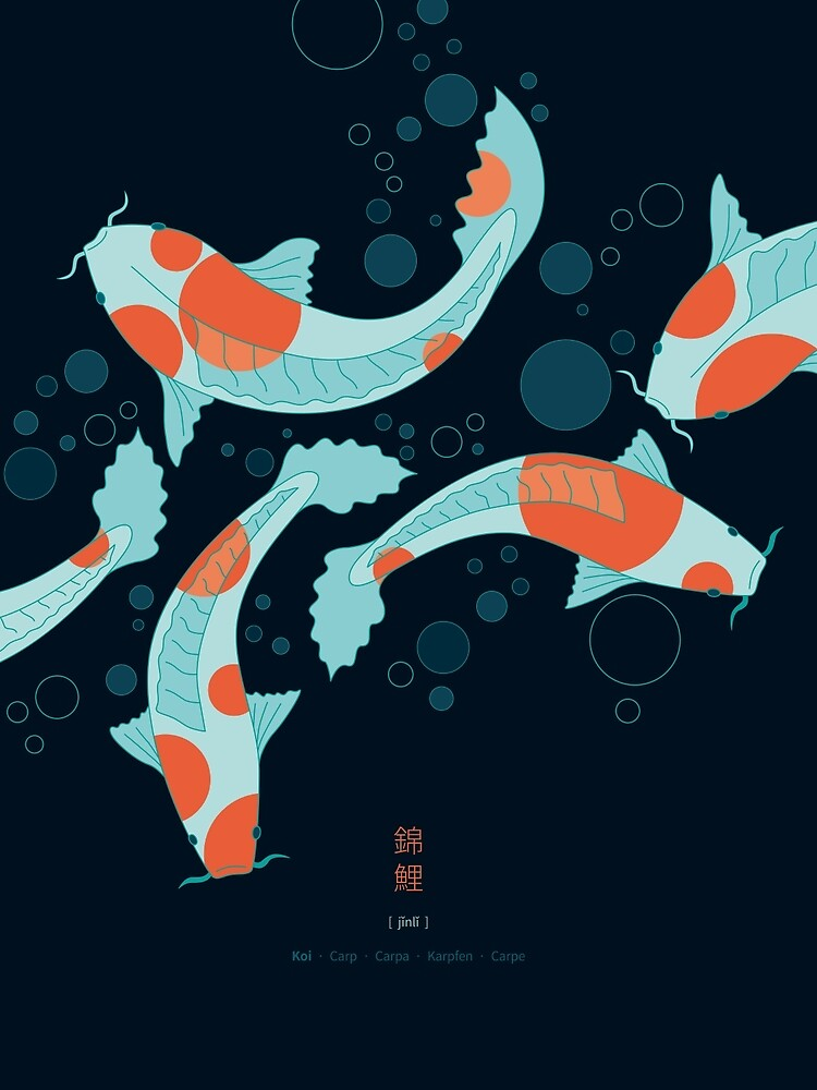 Koi Carps in a Blue-Black Pond by Thoth-Adan