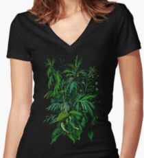 """Green & Black"", summer greenery, floral art, pastel drawing Women's Fitted V-Neck T-Shirt"