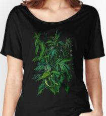 """Green & Black"", summer greenery, floral art, pastel drawing Women's Relaxed Fit T-Shirt"