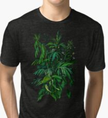 Green and Black, summer greenery, floral art, pastel drawing Tri-blend T-Shirt