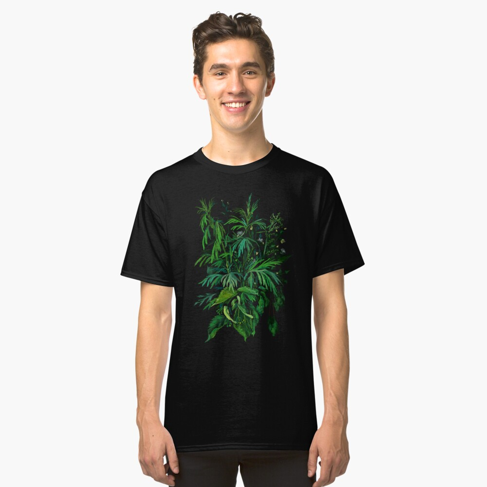 Green and Black, summer greenery, floral art, pastel drawing Classic T-Shirt Front