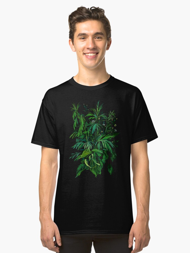 """""""Green & Black"""", summer greenery, floral art, pastel drawing Classic T-Shirt Front"""