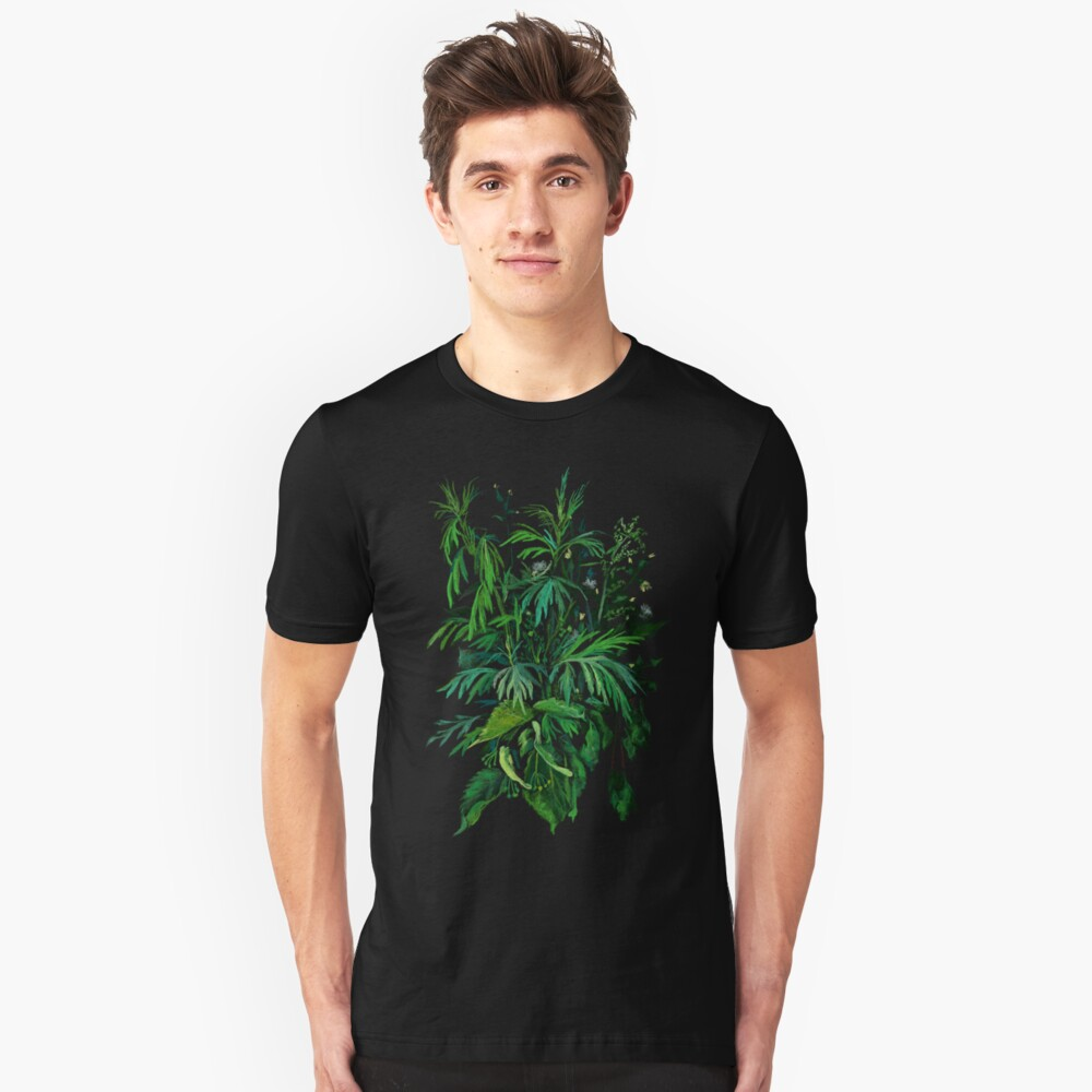 Green and Black, summer greenery, floral art, pastel drawing Unisex T-Shirt Front